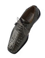 Ferrini F228 Genuine Hornback Alligator Square Toe Lace-up Shoe in Elephant
